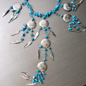 Jewelry - Impressive silvertone, handmade turquoise necklace